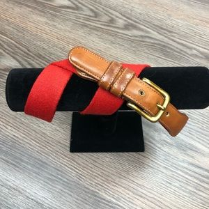 Coach Solid Red Wool & Leather Belt 32